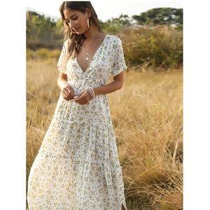Boho Deep V White Floral Dress